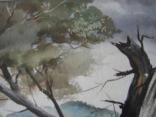 11208A: John E. Detore Signed Watercolor Painting on Pa - 5