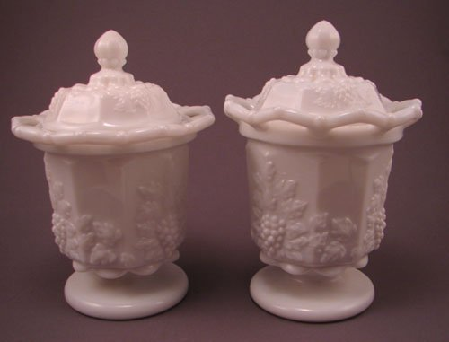 3: Two Westmoreland Signed Milk Glass Covered Jars. Gra