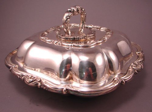 12: Victorian Silver Plate Covered Vegetable Dish. 5 3/