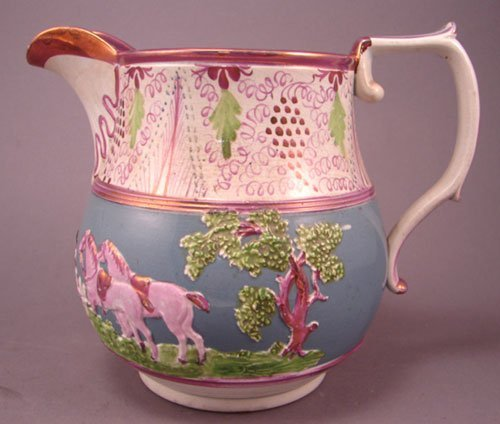 38: Antique Lustre / Pearlware Pitcher with grape and v
