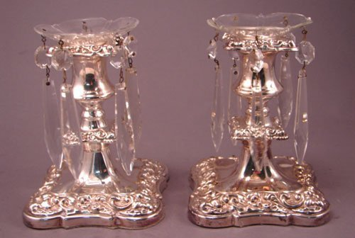 012E: Pair of Silver Plate Candle Holders with bobeches