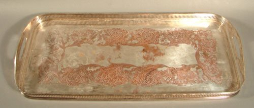 012H: Silver Plate Tray with reticulated rim and handle