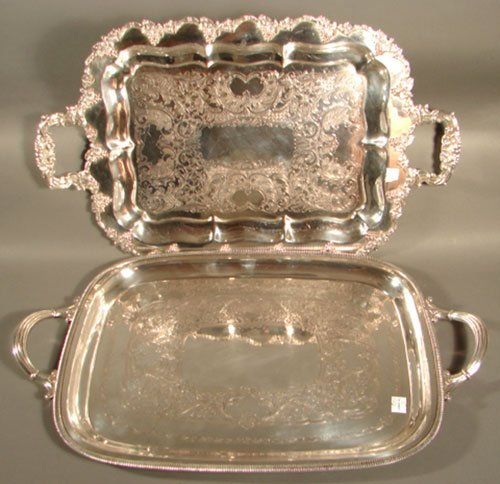 012I: Two Silver Plate Serving Trays with hallmarks & S