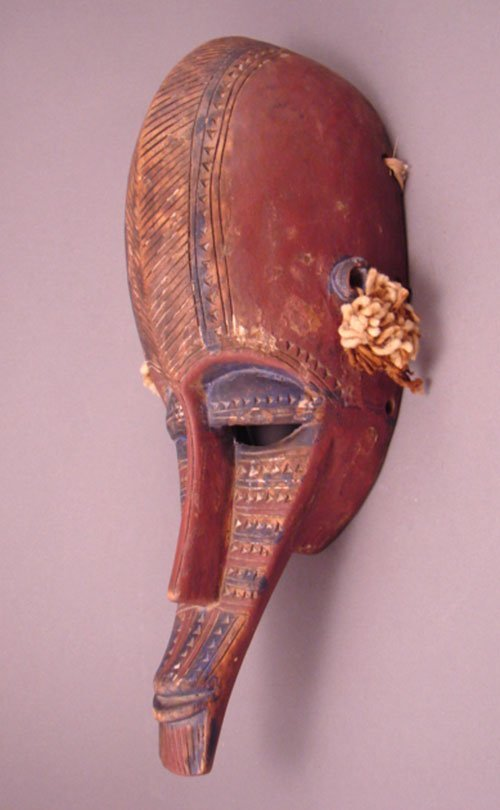 "1009: Marka Zaire Carved Mask, painted. 15""h x 7""w x 4"