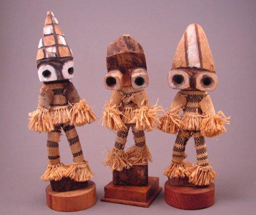 "1011: 3 Zaire Sculptures. 1970's. 10 3/4""h x 4""w x 2 3/"