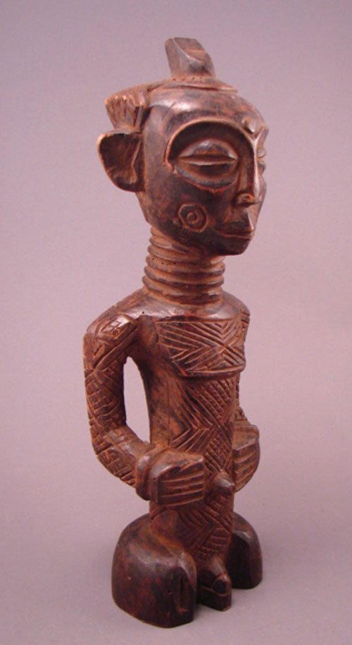 "1014: Dengese Bonkese, Congo, Male sculpture. 13 1/4""h"
