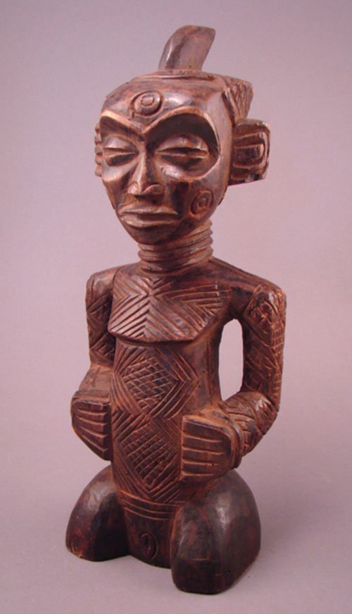 "1022: Dengese Bonkese, Congo, female sculpture. 13""h x"