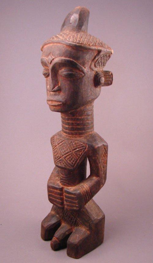 "1023: Dengese Bonkese Congo, male sculpture. 17""h x 4 1"