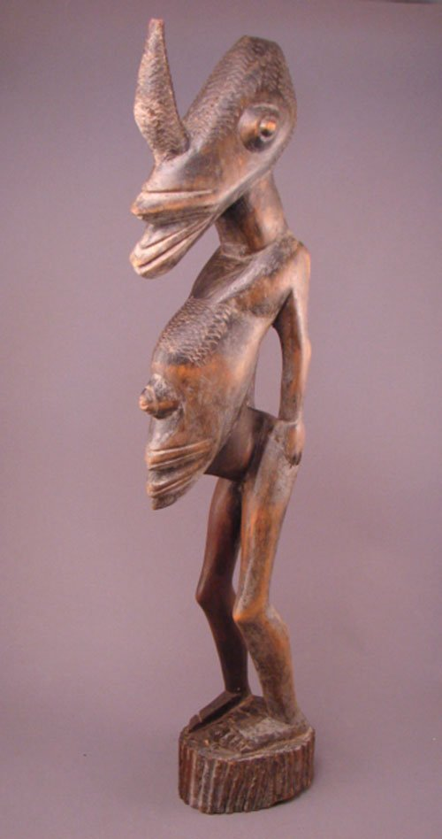 "1024: African Congo Carved wood sculpture. 24 1/2""h x 4"