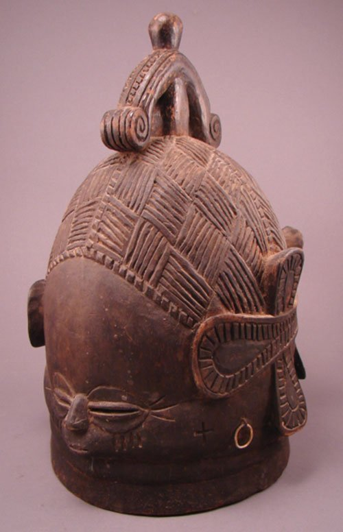 """1174: African carved helmet mask. 15""""h x 9 1/2""""w x 9 1/"""