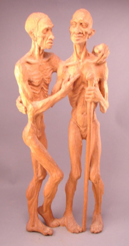 3063: Emil Janel Signed Carved Sculpture of two figures