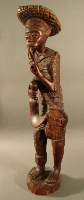 3211 Haitian Carved Wood Sculpture Man With Pipe 26