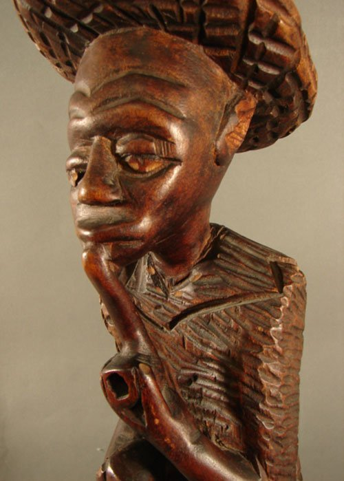 3211: Haitian Carved Wood Sculpture, man with pipe. 26  - 2