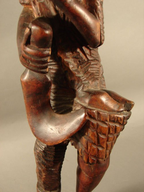 3211: Haitian Carved Wood Sculpture, man with pipe. 26  - 3