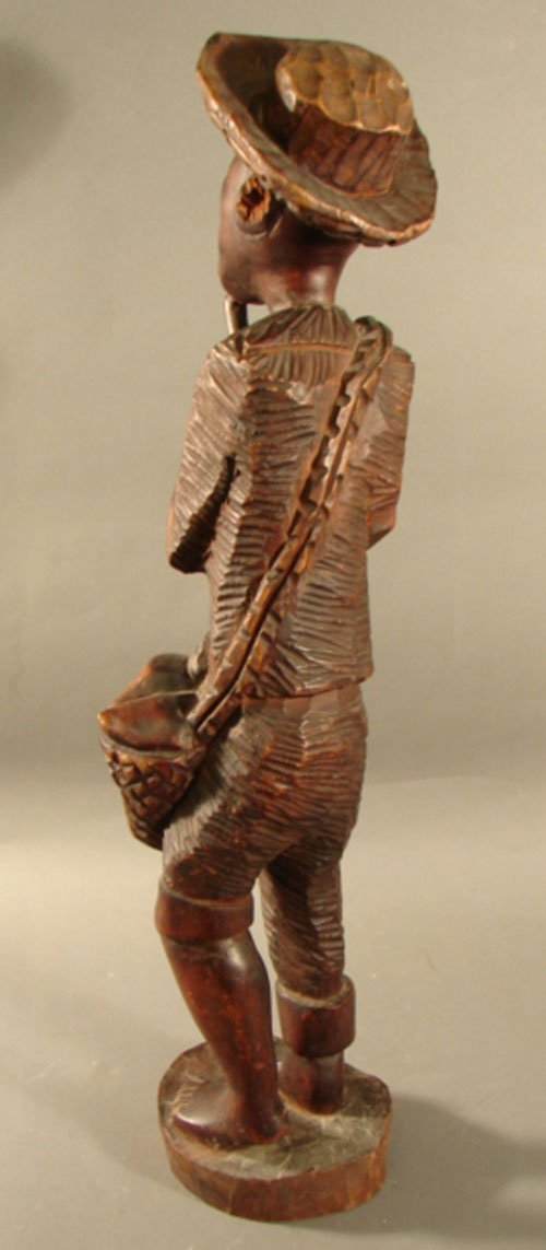 3211: Haitian Carved Wood Sculpture, man with pipe. 26  - 5