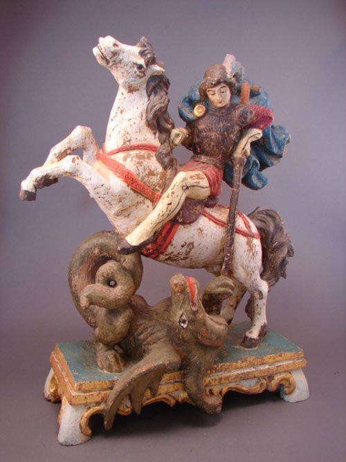 3348: Austrian Sculpture. Hunter on horse with dragon b
