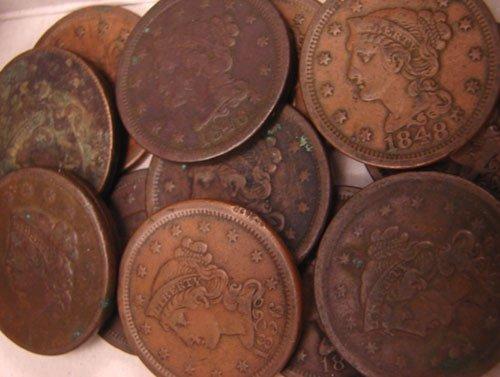 5202: Thirteen Large Cents: 1834, 37, 43, 46, 47, 48, 4