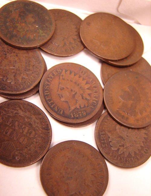 5204: Fifteen Copper Nickel Pennies: 1857-64 mixed Good