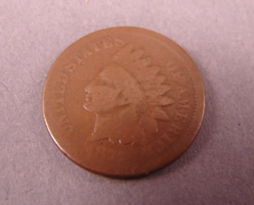 5207: 1877 Indian Head Cent .  AG/G no problems