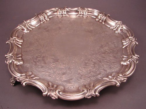 6009: 1848 Sheffield Sterling Silver footed Salver. bea