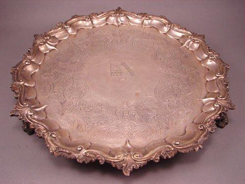 6012: 1742 English Sterling Silver Salver. Engraved coa