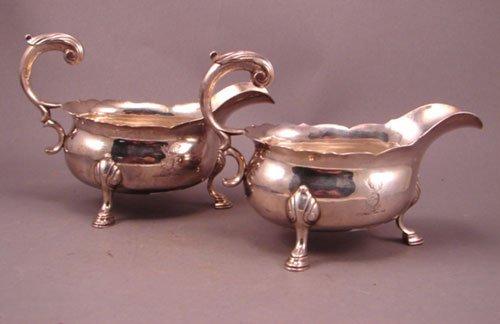6013: 2 English Sterling Silver Sauce Gravy boats. Grea