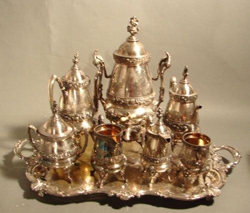 6023: 8 pc silverplate Reed Barton Victorian Tea Set