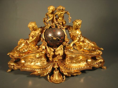 6138: Antique French Figural Gilt Bronze Mantle Clock.
