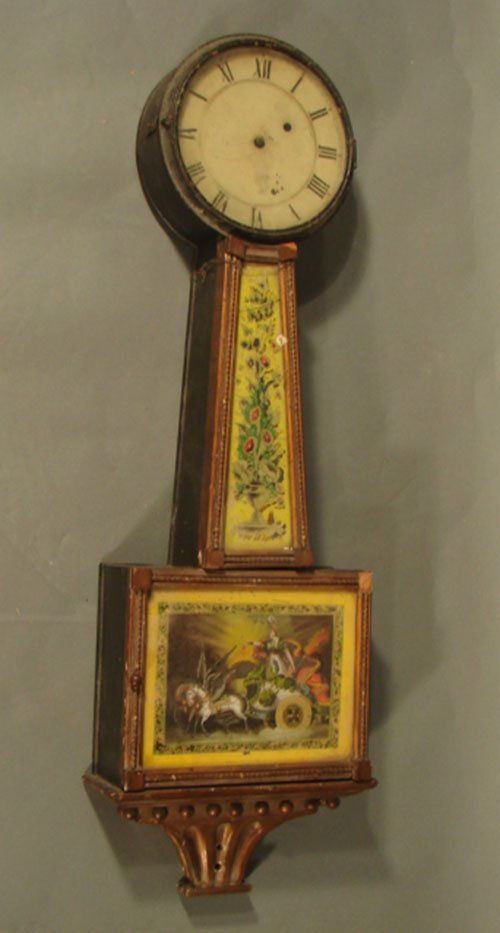 6261: Period Banjo Clock Reverse Painted panels. Some D