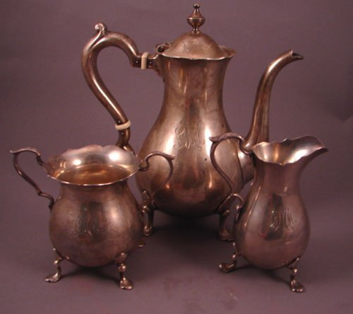 6020A: 3pc Gorham Sterling Silver Tea Set