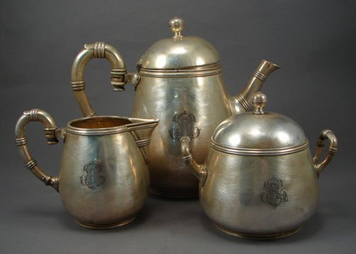 1: Christofle 3pc Early Silverplate Tea Service. Includ