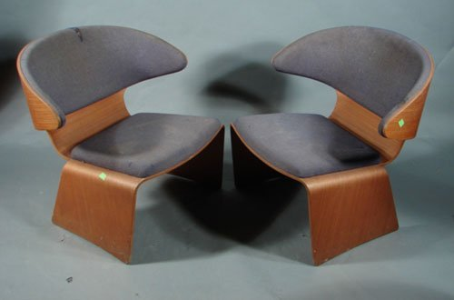 5: Pair of Danish Modern Molded Plywood Chairs. Upholst