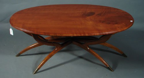 7: Modern Coffee Table with cherry oval top and brass c