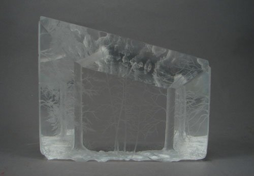 "11: Modern Lucite Sculpture with trees. Marked ""94 Lar"