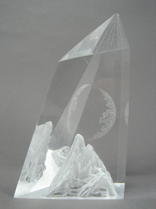 12: Modern Lucite Sculpture with mountain and moon. No