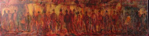 14: Cucaro Signed Mixed Media Painting on Canvas, Crowd