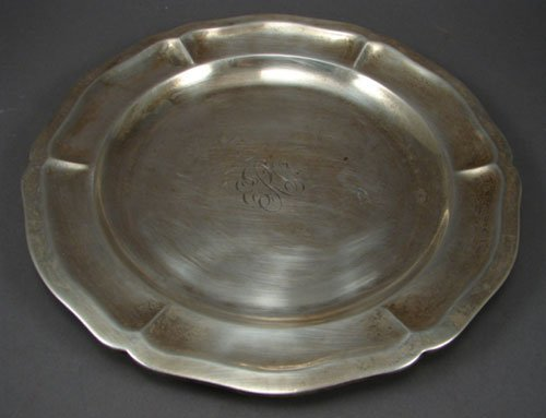 "20: Mexican Sterling Plate. 8 1/2"" diameter. Monogram."