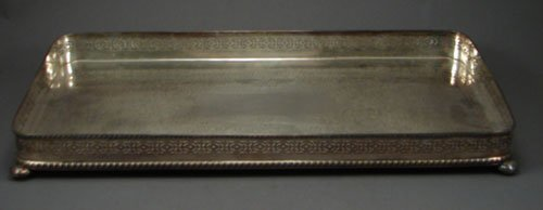 21: Silverplate Rectangular Tray with bun feet and pier