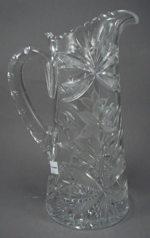 24: Canastota Poinsettia pattern Cut Glass Pitcher. Spo