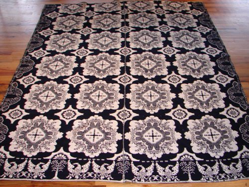 "109: Antique Blue & White Jacquard Coverlet. Marked ""Ma"
