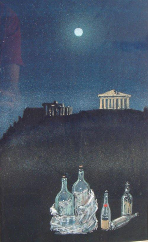 495: Signed Watercolor & Gouache on Paper, Greek scene