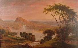 1113: Antique Hudson River school oil painting on canva