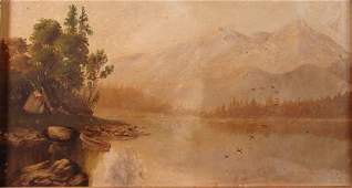 1149: Hudson River School Antique American oil painting