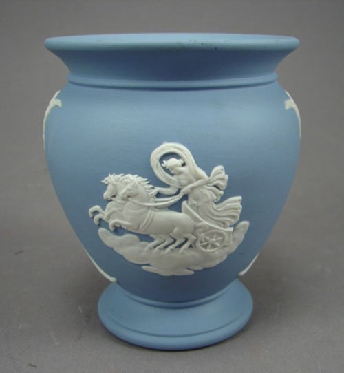 1007: Wedgwood Blue Jasper Vase. Signed and numbered. 3