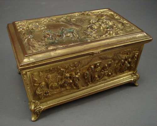 1010: Brass Jewel Casket with relief scenic panels. Mar