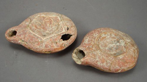 "1013: Pair of Antique Oil Lamps. Losses. 1""h x 3 5/8"" x"