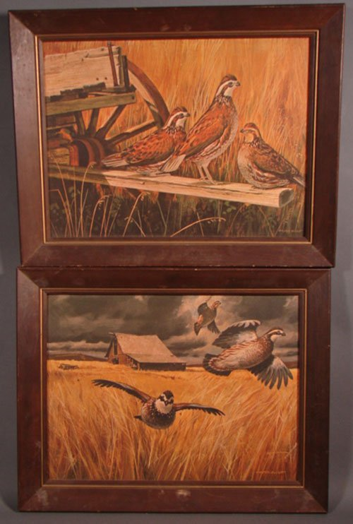 1018: Two Winston Elliot Game Bird Prints. Framed. Sigh