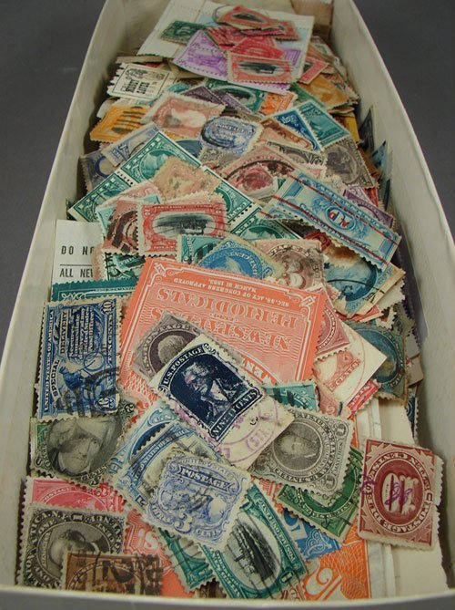 5: US canceled lot of 100s of stamps, all early US, man