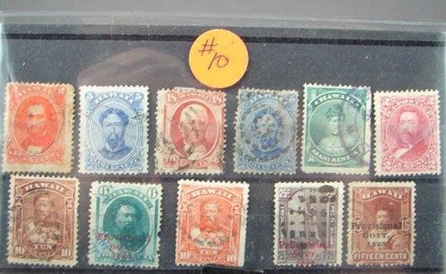10: Hawaiian stamps, canceled, Scott's #31,32,34,39,42,