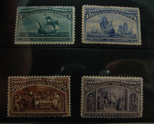 18: US Columbian Issue lot Scott's #232,233,234,235 MH
